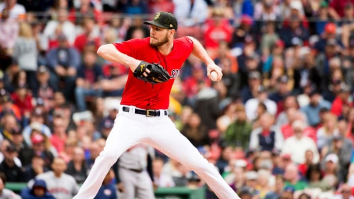 BOSTON, MA - MAY 19: Chris Sale #41 of the Boston Red Sox pitches in the second inning against the Houston Astros at Fenway Park on May 19, 2019 in Boston, Massachusetts. (Photo by Kathryn Riley/Getty Images)