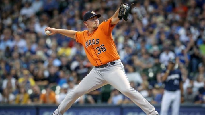 MILWAUKEE, WISCONSIN - SEPTEMBER 02:  Will Harris #36 of the Houston Astros pitches in the eighth inning against the Milwaukee Brewers at Miller Park on September 02, 2019 in Milwaukee, Wisconsin. (Photo by Dylan Buell/Getty Images)