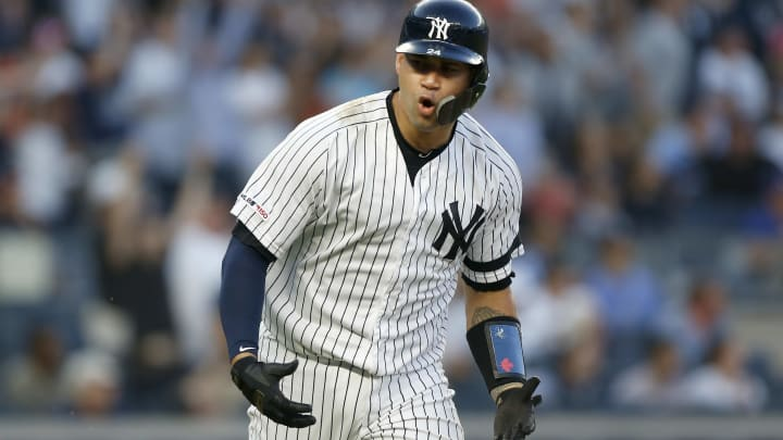 NEW YORK, NEW YORK - JUNE 21:   Gary Sanchez #24 of the New York Yankees reacts on his third inning three run home run against the Houston Astros at Yankee Stadium on June 21, 2019 in New York City. (Photo by Jim McIsaac/Getty Images)