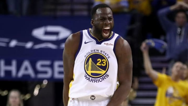 OAKLAND, CALIFORNIA - MAY 08:   Draymond Green #23 of the Golden State Warriors reacts after he made a basket against the Houston Rockets during Game Five of the Western Conference Semifinals of the 2019 NBA Playoffs at ORACLE Arena on May 08, 2019 in Oakland, California.  NOTE TO USER: User expressly acknowledges and agrees that, by downloading and or using this photograph, User is consenting to the terms and conditions of the Getty Images License Agreement.  (Photo by Ezra Shaw/Getty Images)