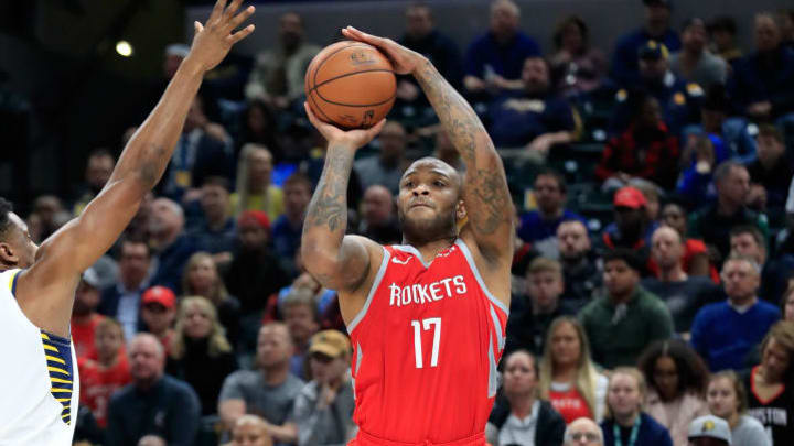 INDIANAPOLIS, IN - NOVEMBER 05:  P.J. Tucker #17 of the Houston Rockets shoots the ball against the Indiana Pacers at Bankers Life Fieldhouse on November 5, 2018 in Indianapolis, Indiana.  NOTE TO USER: User expressly acknowledges and agrees that, by downloading and or using this photograph, User is consenting to the terms and conditions of the Getty Images License Agreement.  (Photo by Andy Lyons/Getty Images)