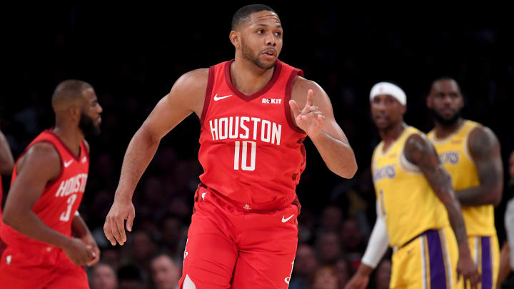 LOS ANGELES, CALIFORNIA - FEBRUARY 21:  Eric Gordon #10 of the Houston Rockets reacts to his three pointer during a 111-106 loss to the Los Angeles Lakers at Staples Center on February 21, 2019 in Los Angeles, California. (Photo by Harry How/Getty Images)