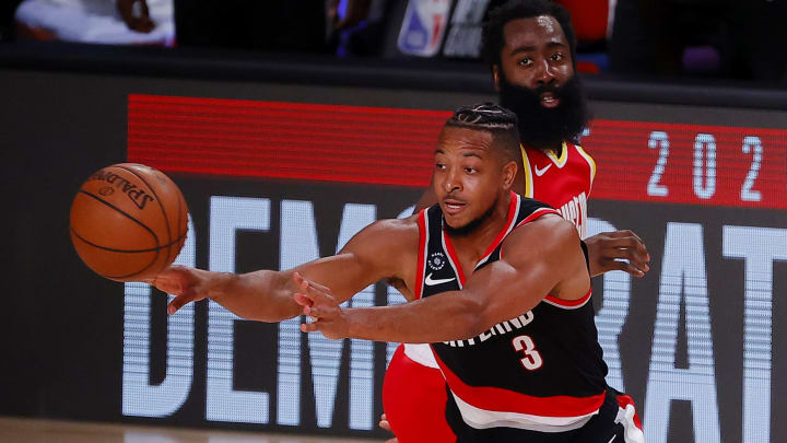 CJ McCollum and James Harden in the bubble.