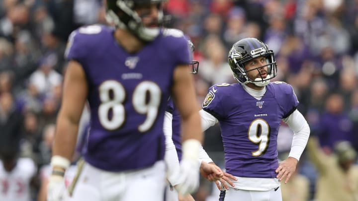 BALTIMORE, MARYLAND - NOVEMBER 17: Kicker Justin Tucker #9 of the Baltimore Ravens reacts after missing a field goal against the Houston Texans during the first quarter at M&T Bank Stadium on November 17, 2019 in Baltimore, Maryland. (Photo by Patrick Smith/Getty Images)