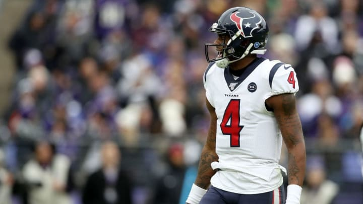 BALTIMORE, MARYLAND - NOVEMBER 17: Quarterback Deshaun Watson #4 of the Houston Texans reacts against the Baltimore Ravens at M&T Bank Stadium on November 17, 2019 in Baltimore, Maryland. (Photo by Rob Carr/Getty Images)