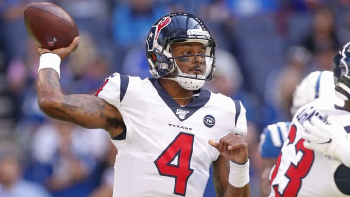 INDIANAPOLIS, IN - OCTOBER 20: Deshaun Watson #4 of the Houston Texans throws the ball during the first half against the Indianapolis Colts at Lucas Oil Stadium on October 20, 2019 in Indianapolis, Indiana. (Photo by Michael Hickey/Getty Images)