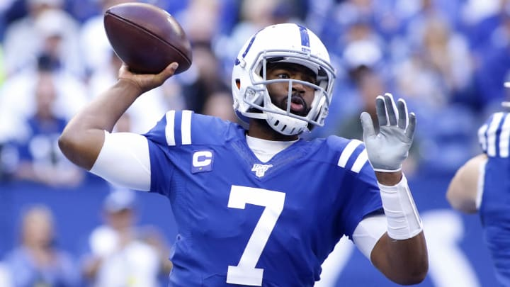 INDIANAPOLIS, INDIANA - OCTOBER 20: Jacoby Brissett #7 of the Indianapolis Colts throws a pass in the game against the Houston Texans during the fourth quarter at Lucas Oil Stadium on October 20, 2019 in Indianapolis, Indiana. (Photo by Justin Casterline/Getty Images)