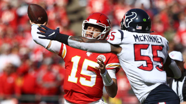 KANSAS CITY, MISSOURI - OCTOBER 13: Patrick Mahomes #15 of the Kansas City Chiefs throws a pass during the first half against the Houston Texans at Arrowhead Stadium on October 13, 2019 in Kansas City, Missouri. (Photo by Jamie Squire/Getty Images)