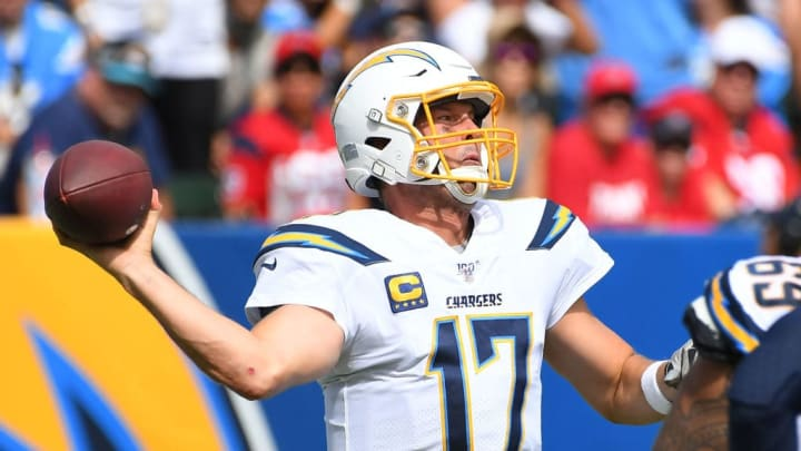 CARSON, CA - SEPTEMBER 22: Quarterback Philip Rivers #17 of the Los Angeles Chargers sets to pass in the first half of the game against the Houston Texans at Dignity Health Sports Park on September 22, 2019 in Carson, California. (Photo by Jayne Kamin-Oncea/Getty Images)