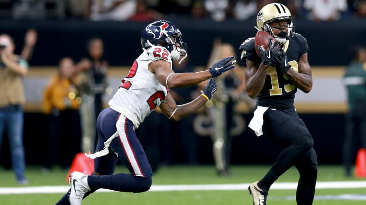 NEW ORLEANS, LOUISIANA - SEPTEMBER 09:  Michael Thomas #13 of the New Orleans Saints catches a pass over Aaron Colvin #22 of the Houston Texans during a NFL game at the Mercedes Benz Superdome on September 09, 2019 in New Orleans, Louisiana. (Photo by Sean Gardner/Getty Images)