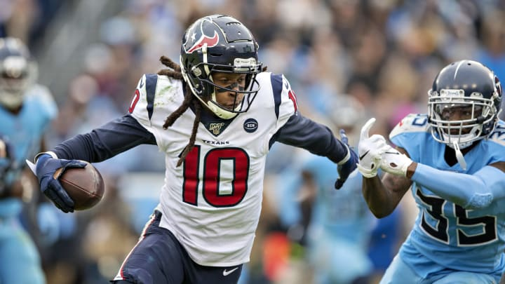 DeAndre Hopkins plays for the Houston Texans against the Tennessee Titans