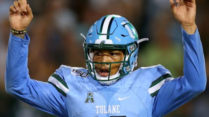 NEW ORLEANS, LOUISIANA - SEPTEMBER 19: Justin McMillan #12 of the Tulane Green Wave reacts during a game against the Houston Cougars at Yulman Stadium on September 19, 2019 in New Orleans, Louisiana. (Photo by Jonathan Bachman/Getty Images)