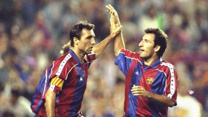 Hristo Stoichkov and Begiristain of Barcelona