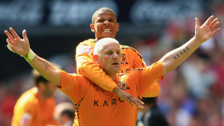 Dean Windass celebrates his winner in the 2008 Championship play-off final