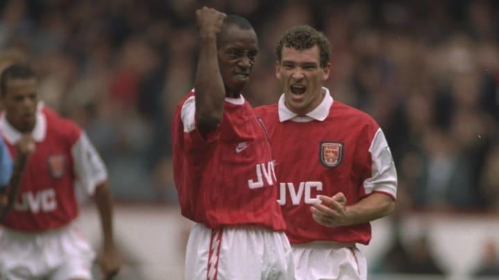 Ian Wright and John Jensen of Arsenal