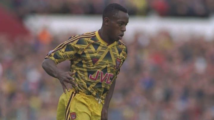 Ian Wright in a legendary Arsenal away kit.