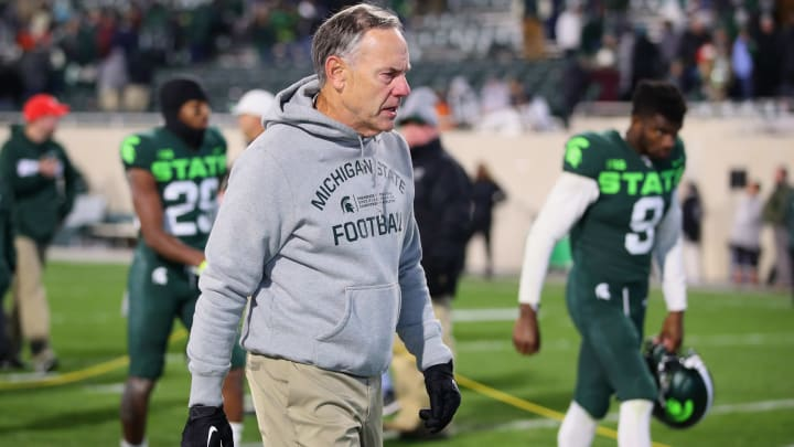 EAST LANSING, MICHIGAN - NOVEMBER 09: Head coach Mark Dantonio leaves the field after a 37-34 loss to the Illinois Fighting Illini at Spartan Stadium on November 09, 2019 in East Lansing, Michigan. (Photo by Gregory Shamus/Getty Images)