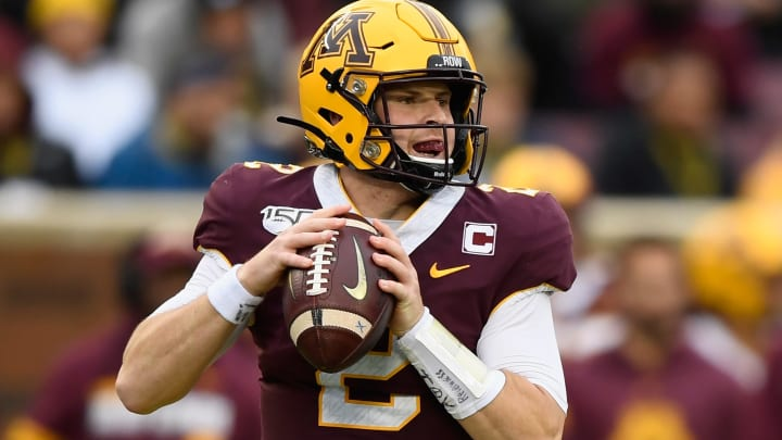MINNEAPOLIS, MINNESOTA - OCTOBER 05: Tanner Morgan #2 of the Minnesota Gophers looks to pass the ball against the Illinois Fighting Illini during the first quarter of the game at TCF Bank Stadium on October 5, 2019 in Minneapolis, Minnesota. The Gophers defeated the Fighting Illini 40-17. (Photo by Hannah Foslien/Getty Images)