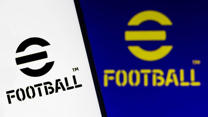 Jogo reservas muitas novidades   In this photo illustration, eFootball logo game seen...