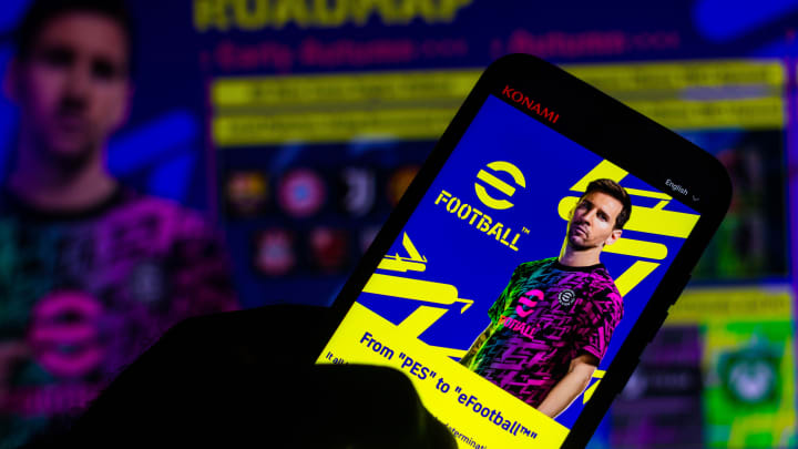 PES agora é eFootball | In this photo illustration, eFootball logo game with...