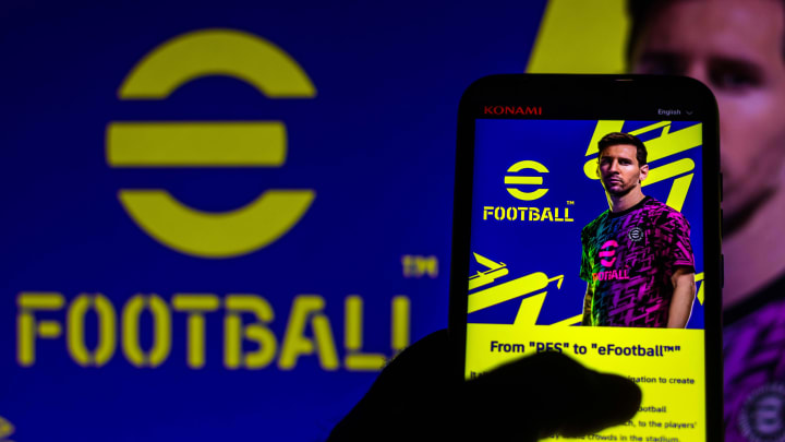 Messi é um dos parceiros da Konami   In this photo illustration, eFootball logo game with...