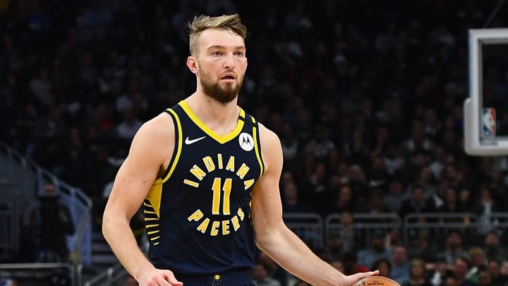 Domantas Sabonis plays for the Indiana Pacers against the Milwaukee Bucks
