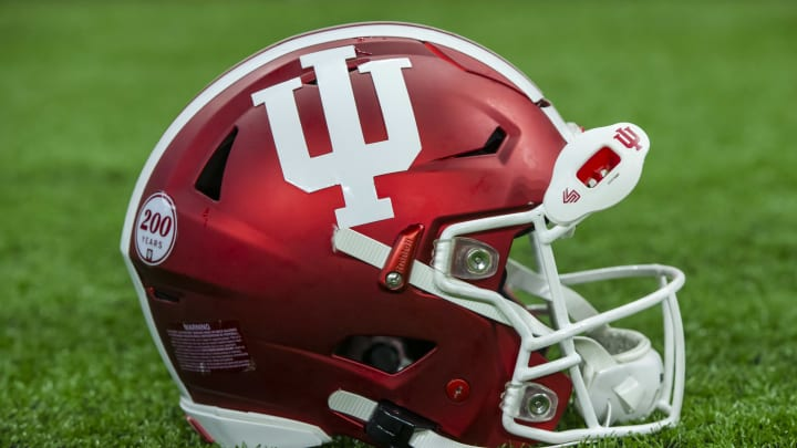INDIANAPOLIS, IN - AUGUST 31: An Indiana Hoosiers helmet is seen during the game against the Ball State Cardinals at Lucas Oil Stadium on August 31, 2019 in Indianapolis, Indiana. (Photo by Michael Hickey/Getty Images)