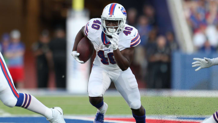 ORCHARD PARK, NEW YORK - AUGUST 08: Devin Singletary #40 of the Buffalo Bills runs the ball during a preseason game against the Indianapolis Colts at New Era Field on August 08, 2019 in Orchard Park, New York. (Photo by Bryan M. Bennett/Getty Images)