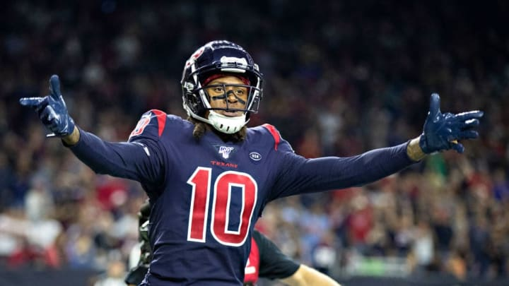 HOUSTON, TX - NOVEMBER 21:  DeAndre Hopkins #10 of the Houston Texans celebrates after catching a pass for a touchdown during the second half of a game against the Indianapolis Colts at NRG Stadium on November 21, 2019 in Houston, Texas.  The Texans defeated the Colts 20-17. (Photo by Wesley Hitt/Getty Images)