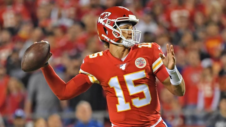 KANSAS CITY, MO - OCTOBER 06: Quarterback Patrick Mahomes #15 of the Kansas City Chiefs throws a pass against the Indianapolis Colts during the first half at Arrowhead Stadium on October 6, 2019 in Kansas City, Missouri. (Photo by Peter Aiken/Getty Images)