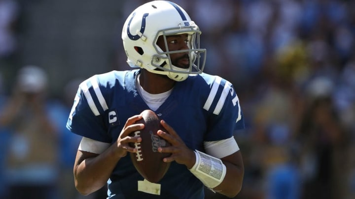 CARSON, CALIFORNIA - SEPTEMBER 08:  Jacoby Brissett #7 of the Indianapolis Colts looks to pass during the first half of a game against the Los Angeles Chargers at Dignity Health Sports Park on September 08, 2019 in Carson, California. (Photo by Sean M. Haffey/Getty Images)