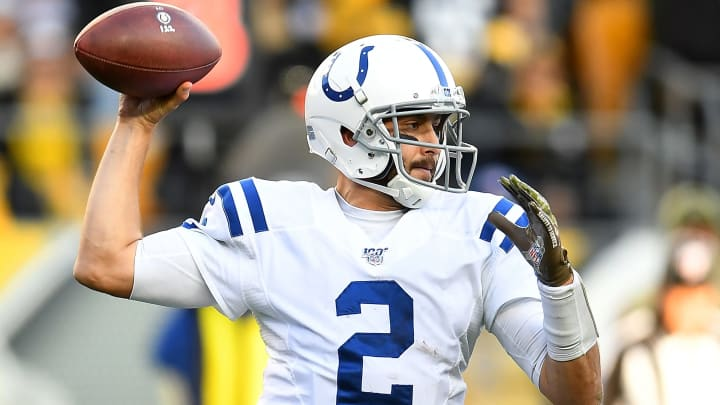 PITTSBURGH, PA - NOVEMBER 03:  Brian Hoyer #2 of the Indianapolis Colts throws a pass during the fourth quarter against the Pittsburgh Steelers at Heinz Field on November 3, 2019 in Pittsburgh, Pennsylvania. (Photo by Joe Sargent/Getty Images)