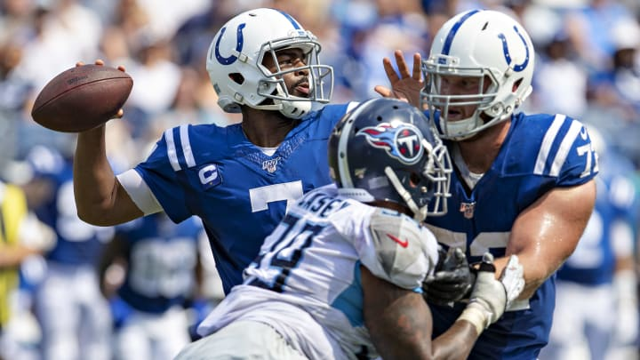 NASHVILLE, TN - SEPTEMBER 15:  Jacoby Brissett #7 of the Indianapolis Colts throws a pass during a game against the Tennessee Titans at Nissan Stadium on September 15, 2019 in Nashville,Tennessee.  The Colts defeated the Titans 19-17.  (Photo by Wesley Hitt/Getty Images)