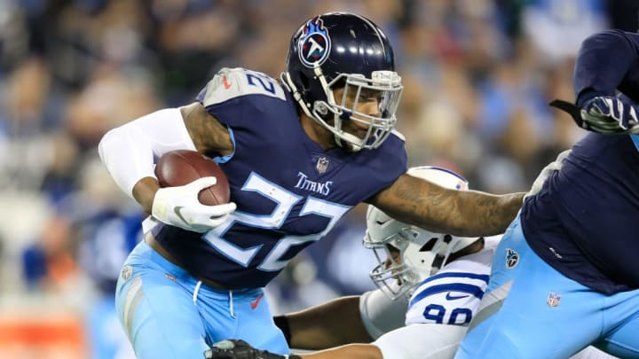 NASHVILLE, TN - DECEMBER 30:  Derrick Henry #22 of the Tennessee Titans runs with  the ball against the Indianapolis Colts at Nissan Stadium on December 30, 2018 in Nashville, Tennessee.  (Photo by Andy Lyons/Getty Images)