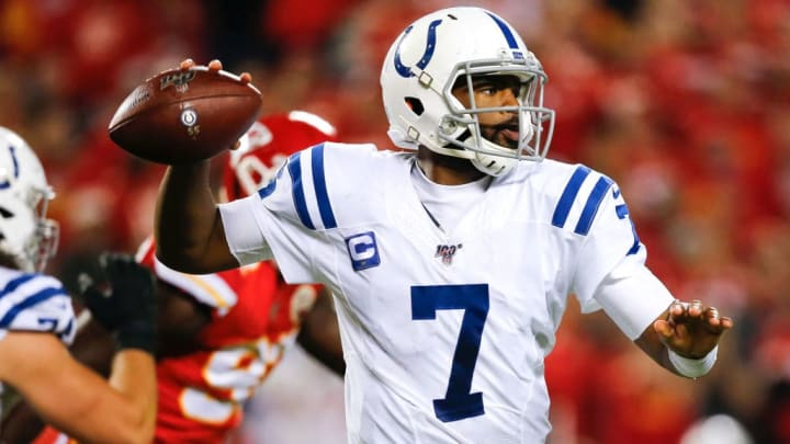 KANSAS CITY, MO - OCTOBER 06: Jacoby Brissett #7 of the Indianapolis Colts throws a third quarter pass against the Kansas City Chiefs at Arrowhead Stadium on October 6, 2019 in Kansas City, Missouri. (Photo by David Eulitt/Getty Images)