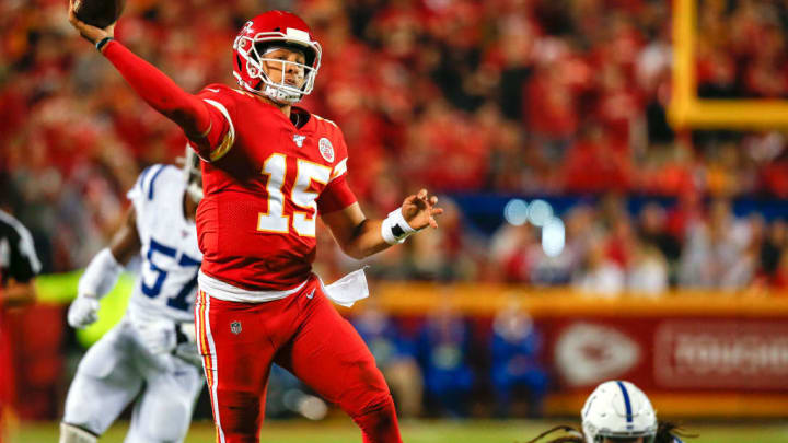 KANSAS CITY, MO - OCTOBER 06: Patrick Mahomes #15 of the Kansas City Chiefs scrambles in the second quarter and completes a 27-yard touchdown throw against the Indianapolis Colts at Arrowhead Stadium on October 6, 2019 in Kansas City, Missouri. (Photo by David Eulitt/Getty Images)
