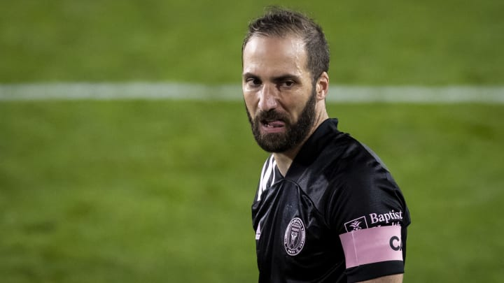 Gonzalo Higuain playing for Inter Miami CF against New York Red Bulls