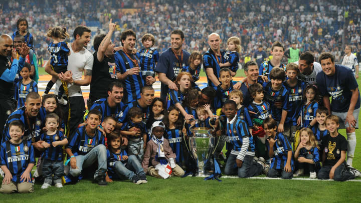 Inter Milan's players celebrate with the