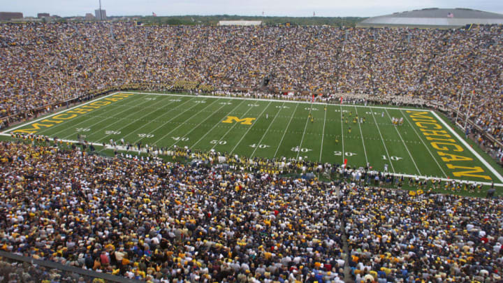 ANN ARBOR, MI - SEPTEMBER 25:  General view inside of Michigan Stadium during the game between the Iowa Hawkeyes and the Michigan Wolverines on September 25, 2004 in Ann Arbor, Michigan.  A crowd of 111,428 fans attended as Michigan defeated Iowa 30-17.  (Photo by Tom Pidgeon/Getty Images)