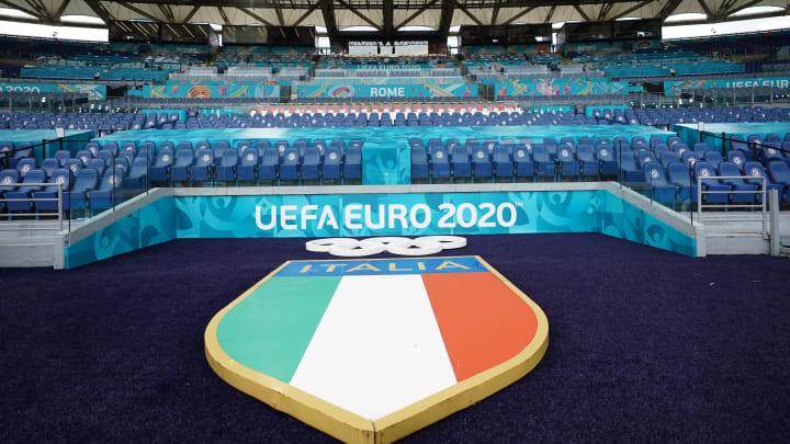 Lo stadio Olimpico di Roma allestito per l'Europeo