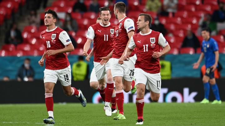 L'esultanza austriaca dopo il gol di Kalajdzic