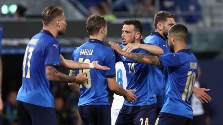 L'esultanza degli Azzurri di Roberto Mancini