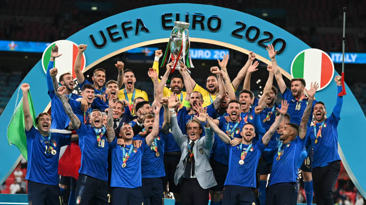 Italy lifting the Euro 2020 trophy at Wembley