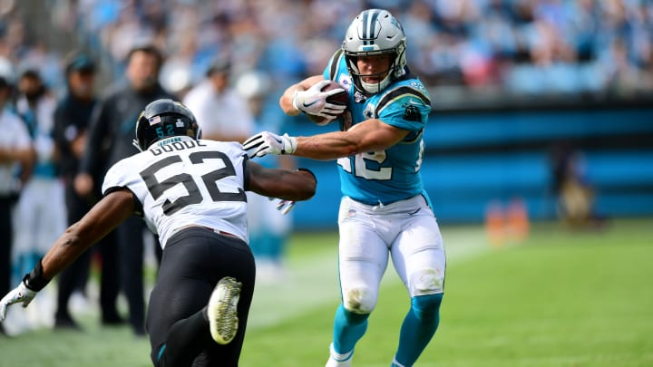 CHARLOTTE, NORTH CAROLINA - OCTOBER 06: Christian McCaffrey #22 of the Carolina Panthers runs around Najee Goode #52 of the Jacksonville Jaguars in the fourth quarter during their game at Bank of America Stadium on October 06, 2019 in Charlotte, North Carolina. (Photo by Jacob Kupferman/Getty Images)