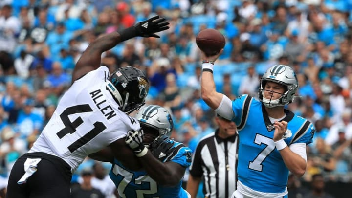 CHARLOTTE, NORTH CAROLINA - OCTOBER 06: Kyle Allen #7 of the Carolina Panthers drops back to pass against the Jacksonville Jaguars during their game at Bank of America Stadium on October 06, 2019 in Charlotte, North Carolina. (Photo by Streeter Lecka/Getty Images)