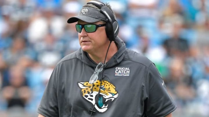 CHARLOTTE, NORTH CAROLINA - OCTOBER 06: Head coach Doug Marrone of the Jacksonville Jaguars watches his team in action against the Carolina Panthers during the second quarter of their game at Bank of America Stadium on October 06, 2019 in Charlotte, North Carolina. (Photo by Grant Halverson/Getty Images)