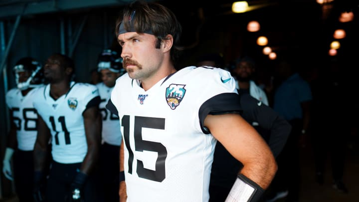 CHARLOTTE, NORTH CAROLINA - OCTOBER 06: Gardner Minshew #15 of the Jacksonville Jaguars before their game against the Carolina Panthers at Bank of America Stadium on October 06, 2019 in Charlotte, North Carolina. (Photo by Jacob Kupferman/Getty Images)