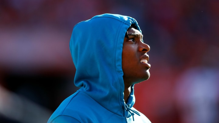 DENVER, CO - SEPTEMBER 29:  Cornerback Jalen Ramsey #20 of the Jacksonville Jaguars stands on the sidelines against the Denver Broncos during the third quarter at Empower Field at Mile High on September 29, 2019 in Denver, Colorado. The Jaguars defeated the Broncos 26-24. (Photo by Justin Edmonds/Getty Images)
