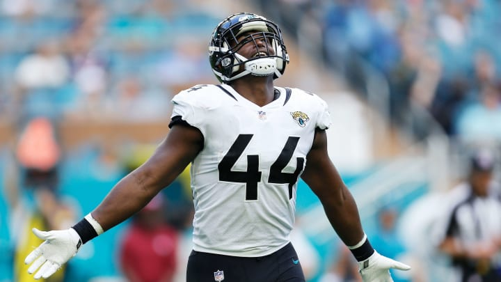 MIAMI, FLORIDA - DECEMBER 23:  Myles Jack #44 of the Jacksonville Jaguars celebrates after the Miami Dolphins misses a field goal attempt in the second quarter at Hard Rock Stadium on December 23, 2018 in Miami, Florida. (Photo by Michael Reaves/Getty Images)
