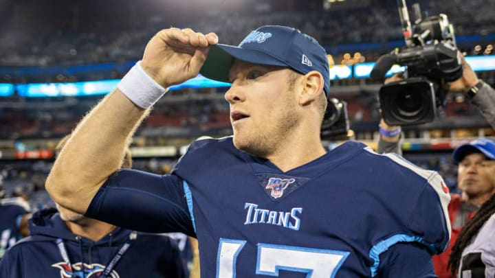 NASHVILLE, TN - NOVEMBER 24:  Ryan Tannehill #17 of the Tennessee Titans on the field after a game against the Jacksonville Jaguars at Nissan Stadium on November 24, 2019 in Nashville, Tennessee.   The Titans defeated the Jaguars 42-20.  (Photo by Wesley Hitt/Getty Images)